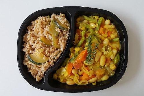 Cassoulet de Legumes, Arroz Integral com Abobrinha Brasileira Marinada