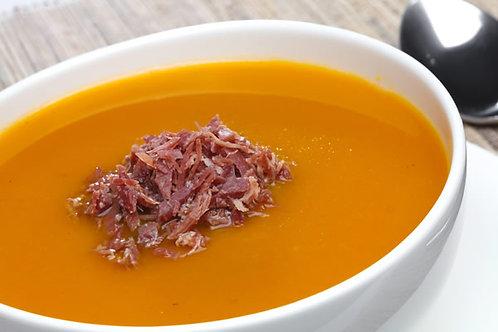 Sopa Creme de Abóbora com Carne Seca