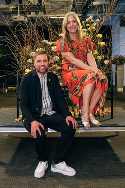 Konferencierer Ebba Kleberg von Sydow och Johan Munter