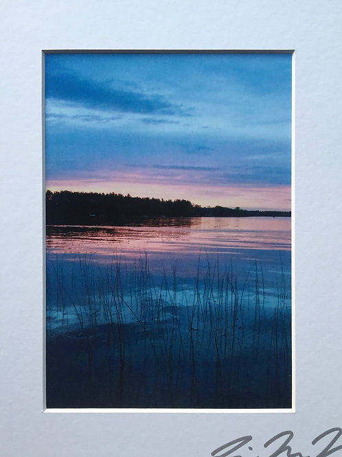 M8x10-4486 WI Lake W/reeds Blue Sunset