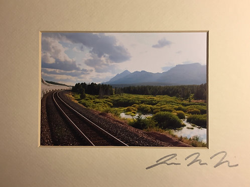 M8x10-6442 Train Tracks, Lake, Mountains