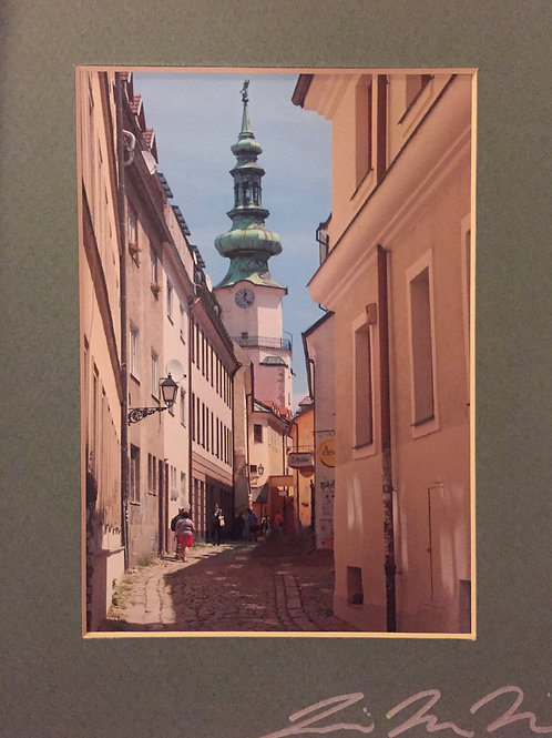 M8x10-3598 Bratislava Cobble Street With Church Steeple