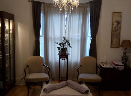 Our Baby Massage space temporarily made-up for a reflexology client