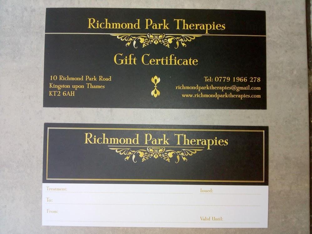 Massage or reflexology Gift Vouchers for Richmond Park Therapies