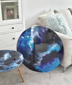 Deep blues and indigo table