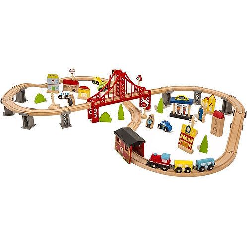 Little Town Wooden Train Set