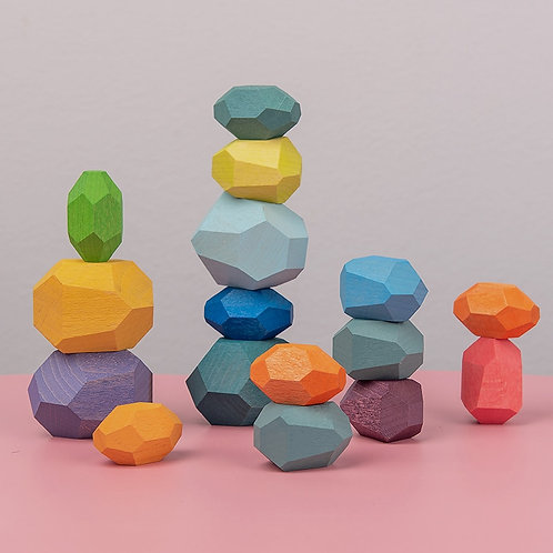 Wooden Colored Stone Jenga Building Block