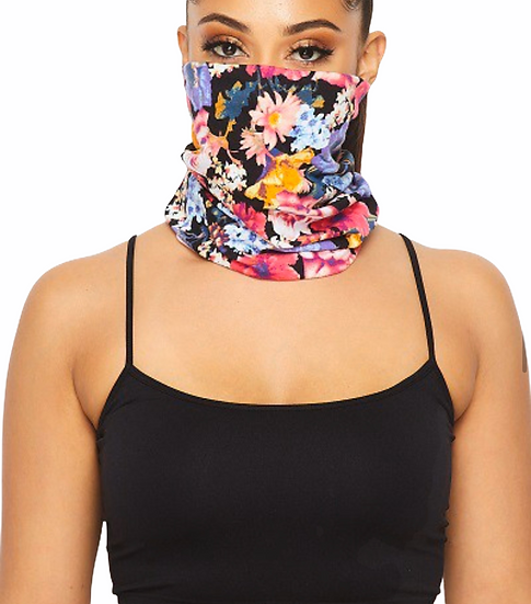 Patterned headband and face cover.