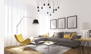 yellow elements in the room