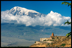 Khorvirap Monastery with Mount Ararat