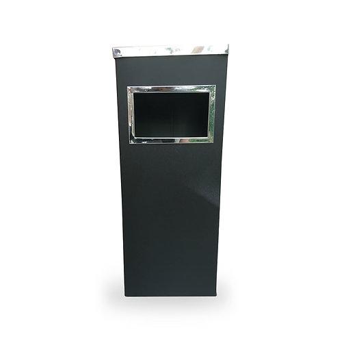 Steel black trash can