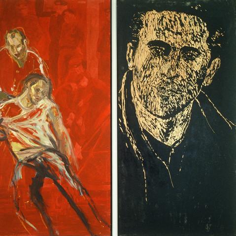 Eaux frontalières  (La série Berlin), 1988, 213 x 213 cm, (diptyque), huile et pigment sur toile, gravure sur bois, Collection de l'artiste.