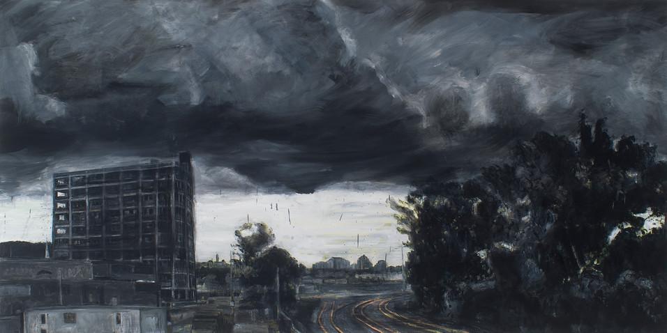 Gare de Triage (été, tempête), 2011, 122 x 244 cm/, huile sur toile.