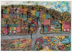 Arthur Villeneuve - Paysage urbain avec préhistoire