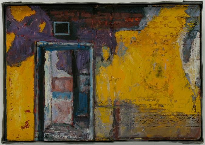 Intérieurs/Extérieurs. no. 31, 2021, 16½ x 24cm, huile sur couverture de livre et plomb.
