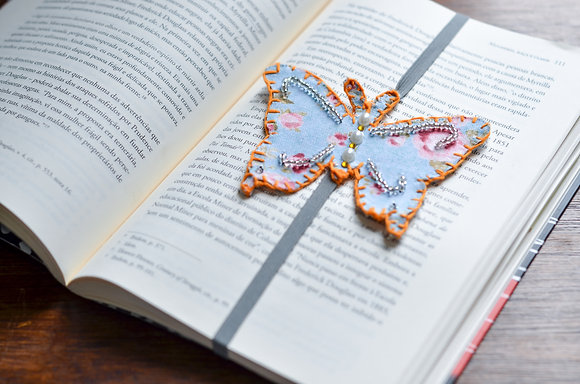 Marcador de livro - Borboleta Azul Clara