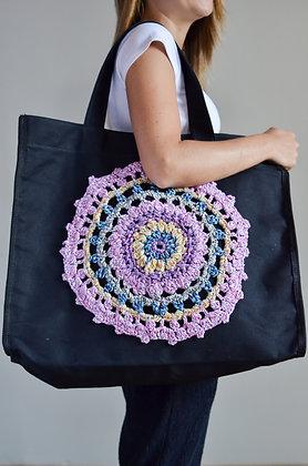 Bolsa de Lona Mandala de Crochê Preta G