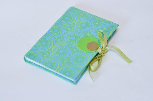 Caderno Artesanal Azul com Verde