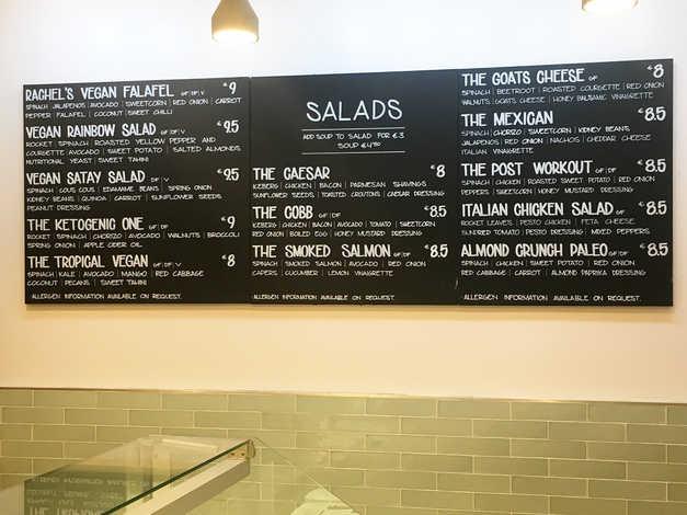 Salads menu