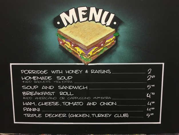 Breakfast menu chalkboard