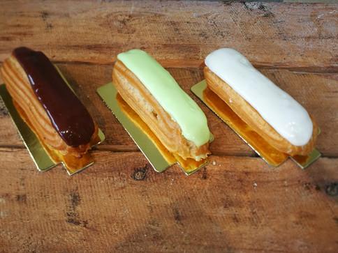 Choc, pistachio, vanilla eclairs.jpg