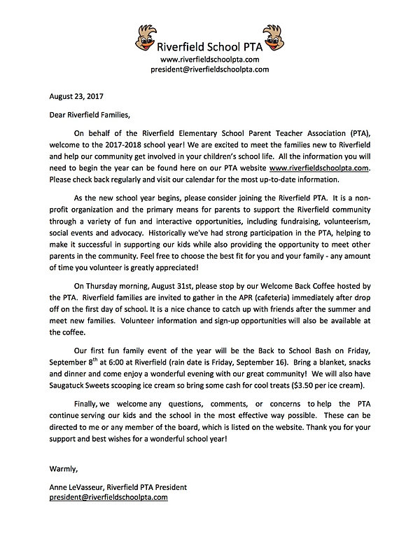 Riverfieldschoolpta  Welcome Letter