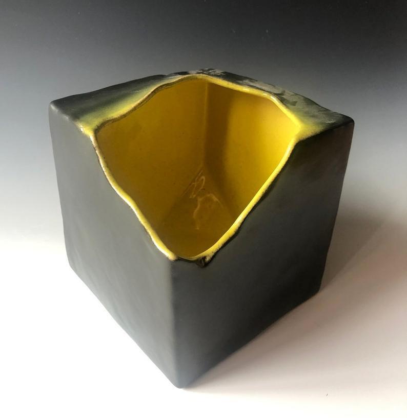 Ceramic cube vase for Japanese Ikebana.