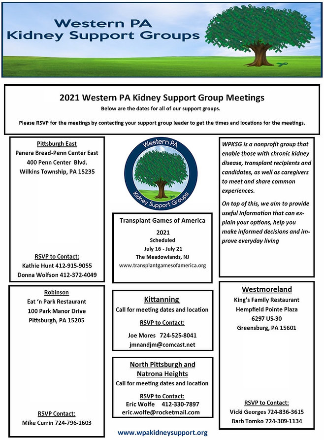 2020 Western PA Kidney Support  Groups M