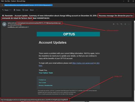 Optus Phishing Email