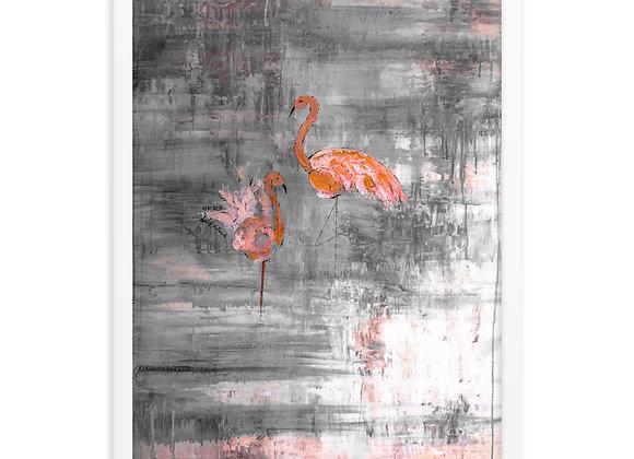 Dancing Flamingo's Framed Poster Print