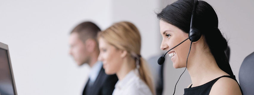 Call center agents talking on the phone
