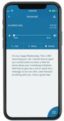 Cell phone with mobile app voicemail transcription