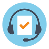 headset icon with checkmark