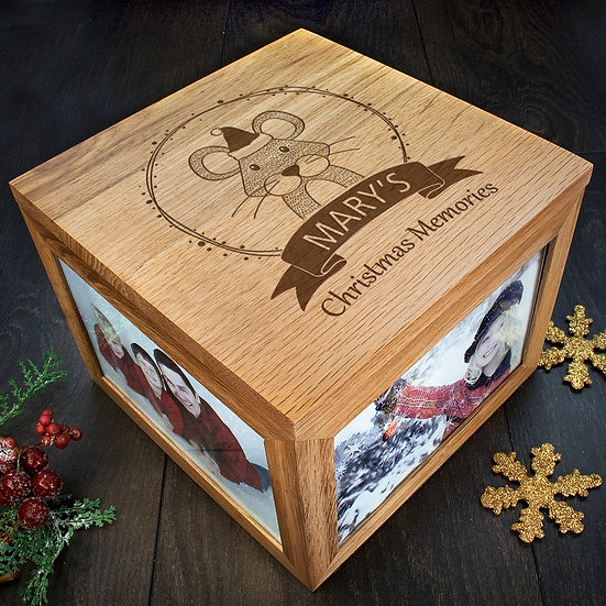 Personalised Woodland Mouse Christmas Memory Box Corner View