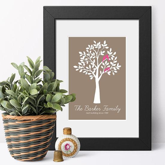 Personalised Family 'Bush' Prints brown