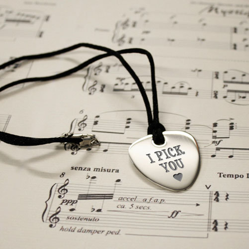 Personalised I Pick You Plectrum Pendant