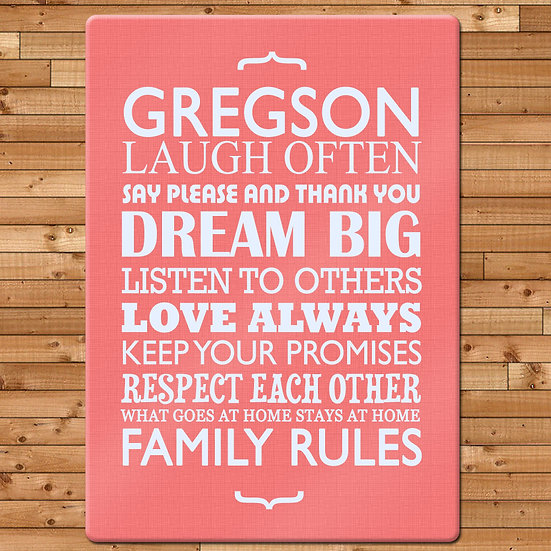Personalised Family Rules Glass Chopping Board pink