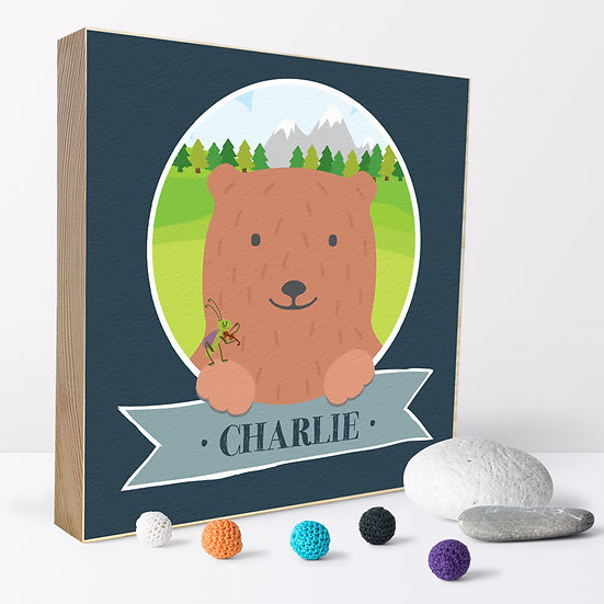 Personalised 'Mountain Bear ' Picture Blocks