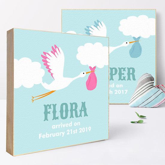 Personalised 'Stork' Picture Blocks