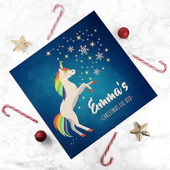Personalised Rainbow Unicorn Christmas Eve Box Large Above