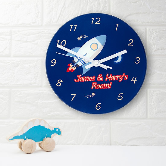 Rocket To The Moon Personalised Wall Clock view 1