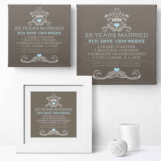 Personalised 'Our Anniversary - Design 1' Prints and Canvases