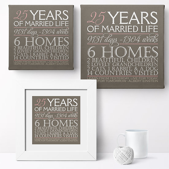 Personalised 'Our Anniversary - Design 2' Prints and Canvases