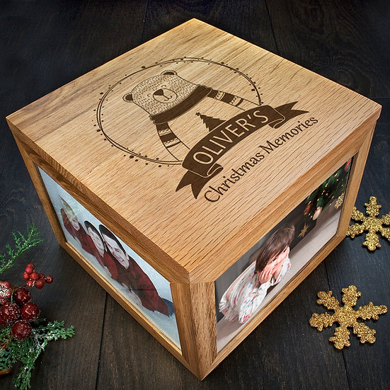 Personalised Polar Bear Christmas Memory Box Corner View