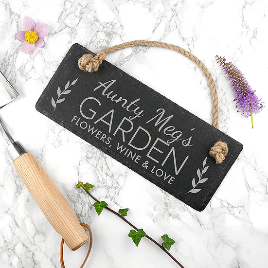 Personalised Our Garden Slate Hanging Sign 1st view
