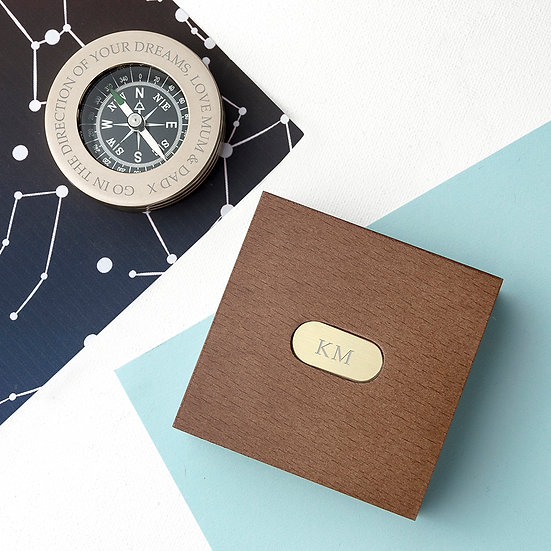Personalised Brass Travellers Compass with Wooden Box 1