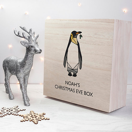 Personalised Geometric Penguin Christmas Eve Box First View