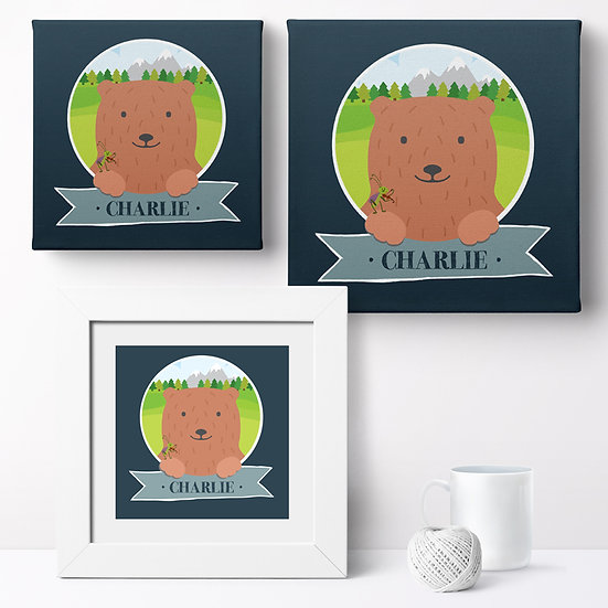 Personalised 'Mountain Bear' Prints and Canvases 1