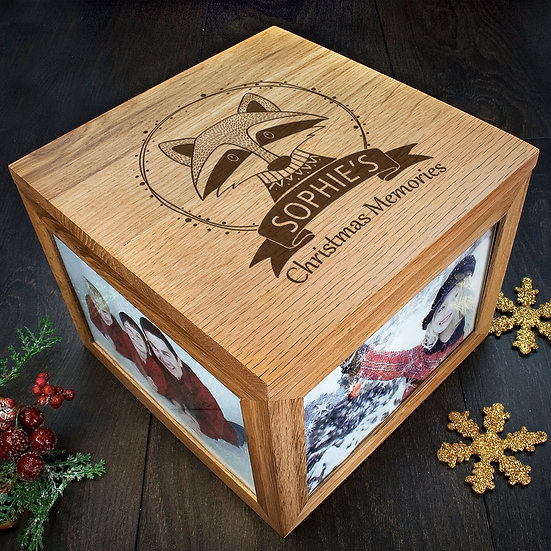 Personalised Woodland Raccoon Christmas Memory Box Corner View