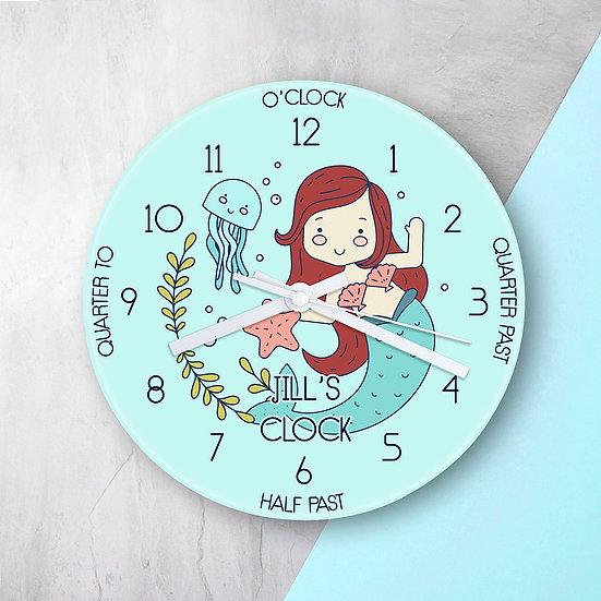 Personalised Kids Mermaid Glass Clock